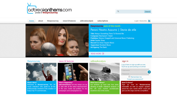 adbreak anthems site design